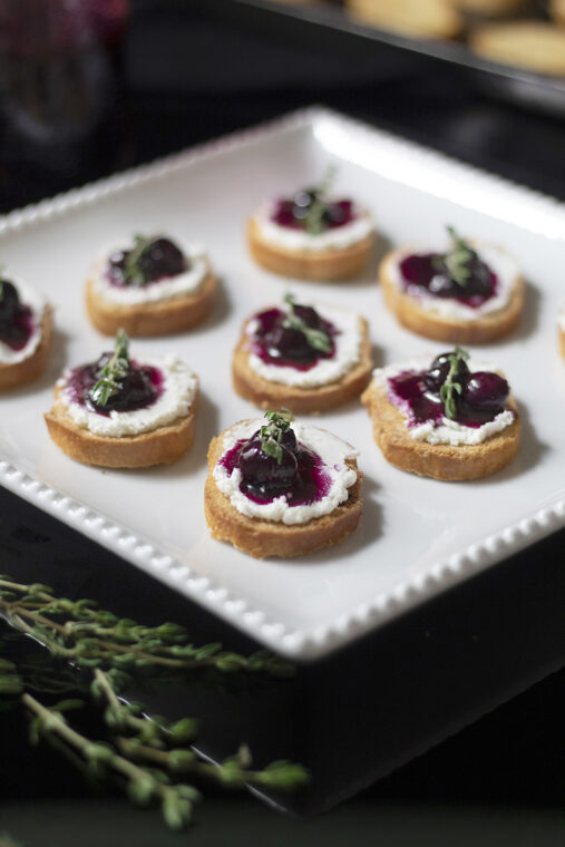 Blueberry Thyme Goat Cheese Crostinis