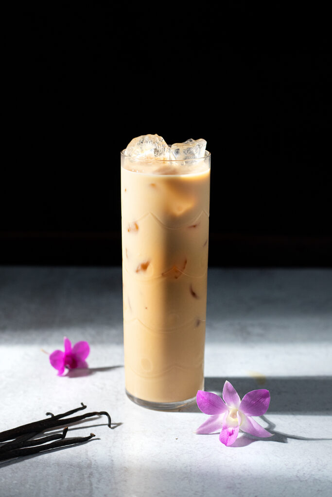 a tall glass of vanilla sweet cream cold brew.